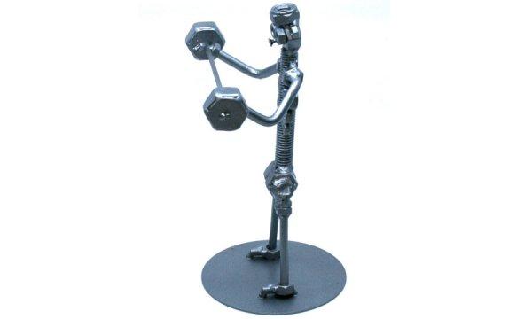 Bolondos fém csavar szobor ajándék súlyemelőnek